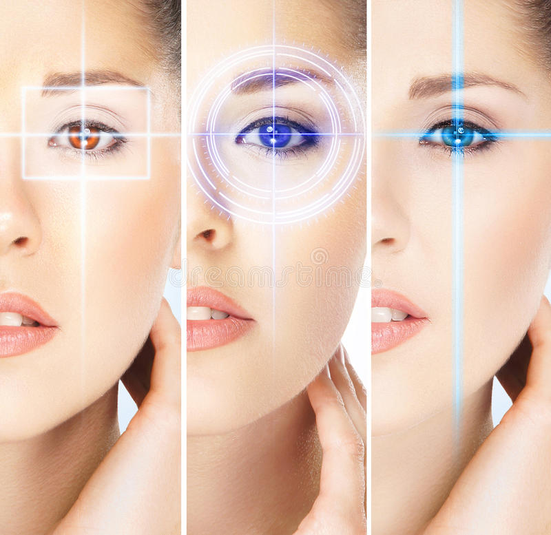 Women with digital laser hologras on their eyes. Women with a digital laser hologram on their eyes (ophthalmology, eye surgery and identity scanning technology stock photography