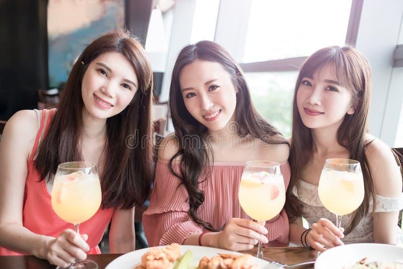 Women dine in restaurant stock image