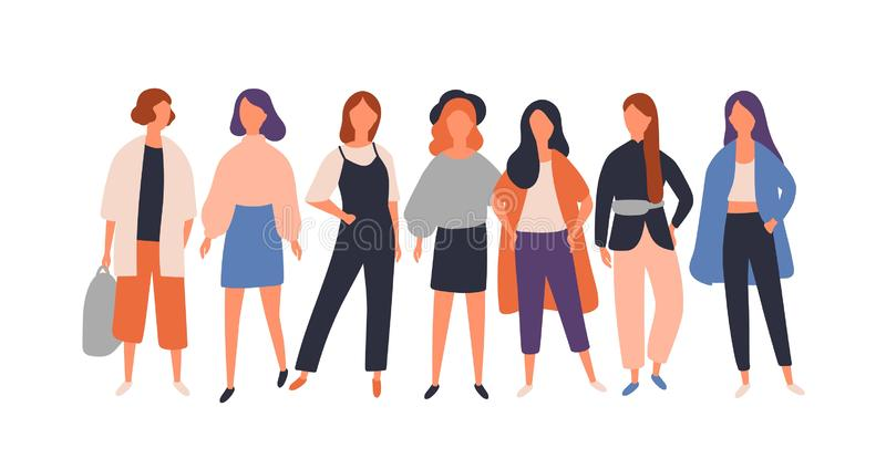 Women diverse group flat vector illustration. Young female characters standing isolated on white. Model, student. Businesswoman in fashionable modern casual stock illustration