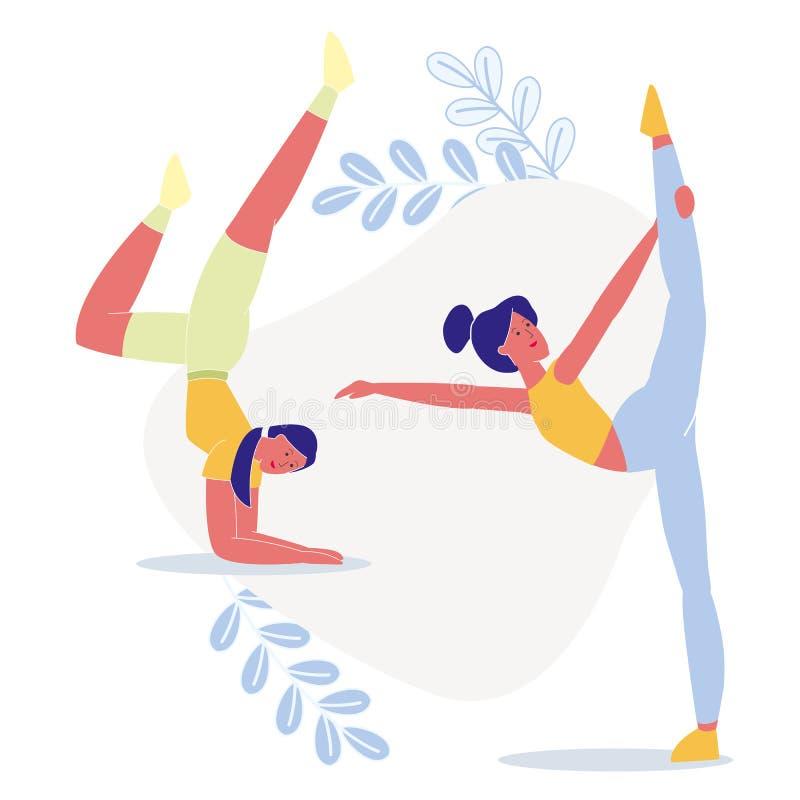 Women do Yoga Together επίπεδη διανυσματική απεικόνιση ελεύθερη απεικόνιση δικαιώματος