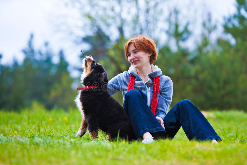 Women with dog stock images