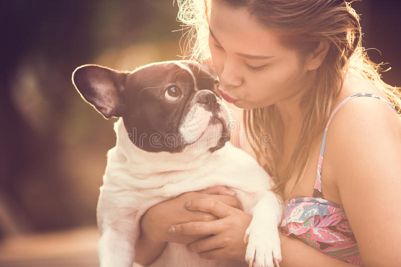 Women dog royalty free stock photos