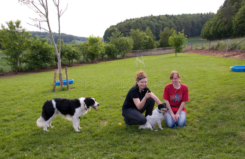 Women and dogs. royalty free stock images