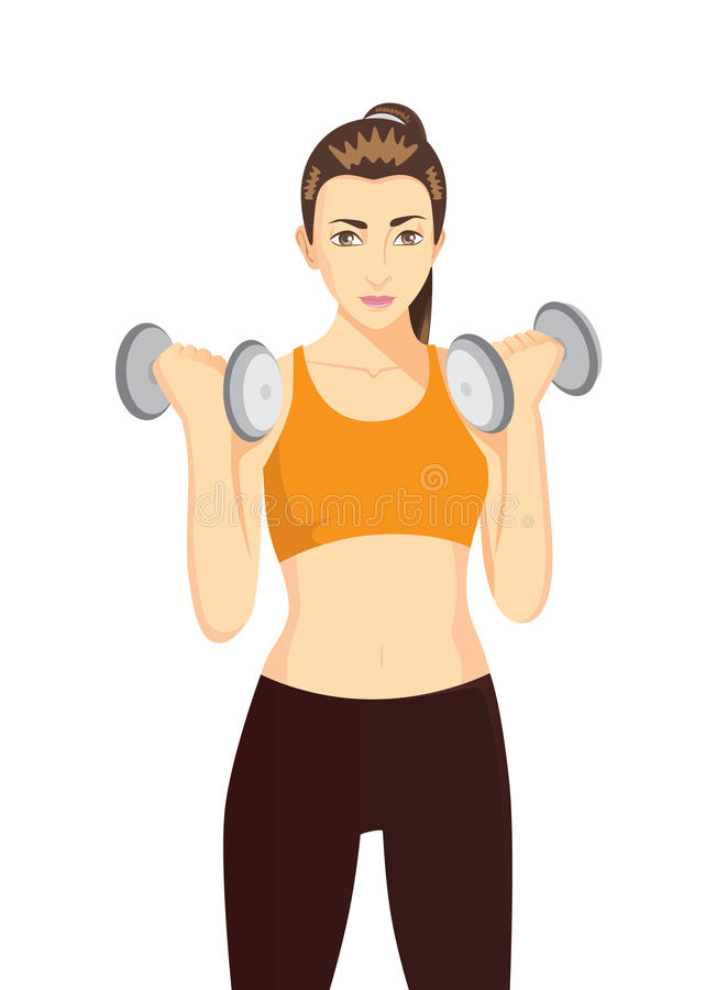 Women doing dumbbells exercises. For health and beauty. Healthy character cartoon on isolated royalty free illustration
