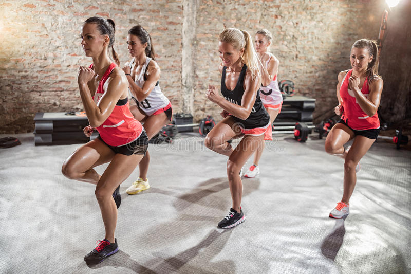 Women doing exercise, fitness and healthy lifestyle stock image