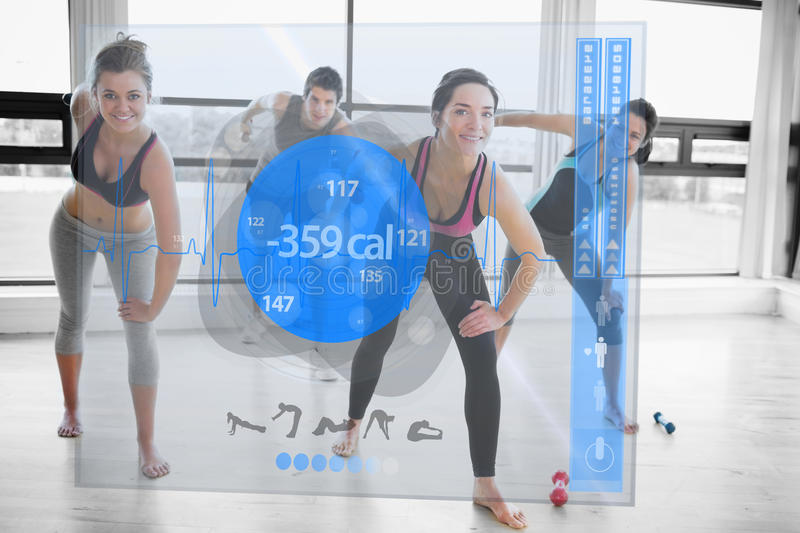 Women doing exercises with trainer while looking futuristic interface. Showing lost calories vector illustration