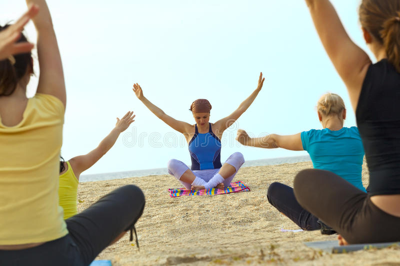 Download Women Doing Fitness Exercise On A Beach Stock Images - Image: 16652314
