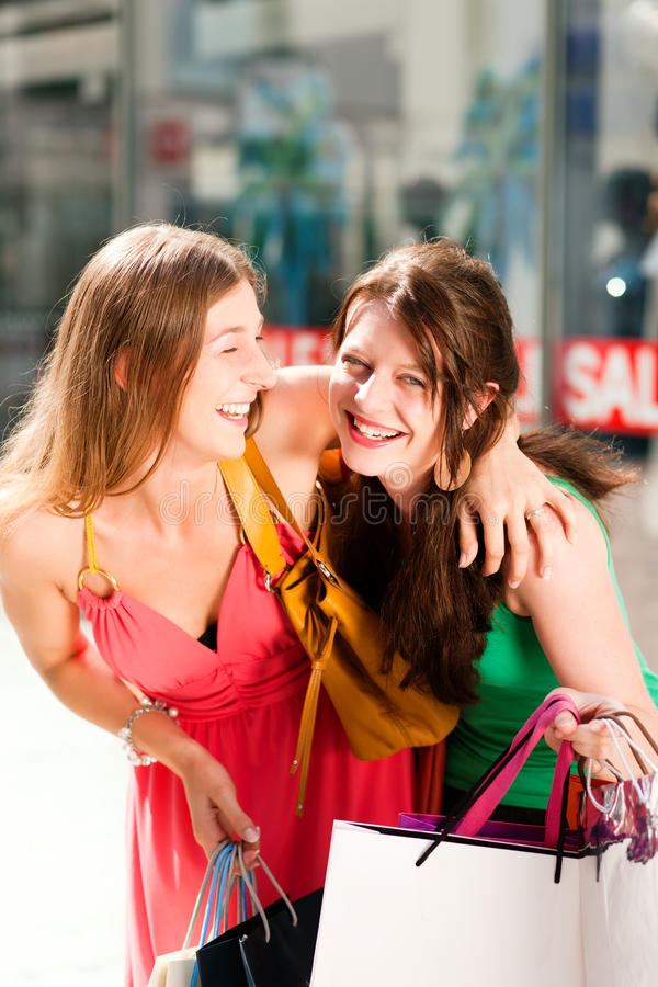 Download Women Downtown Shopping With Bags Stock Photo - Image: 15561712