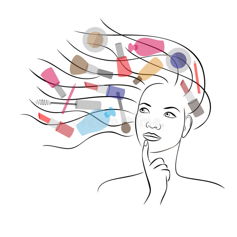 Women dream about cosmetics royalty free illustration