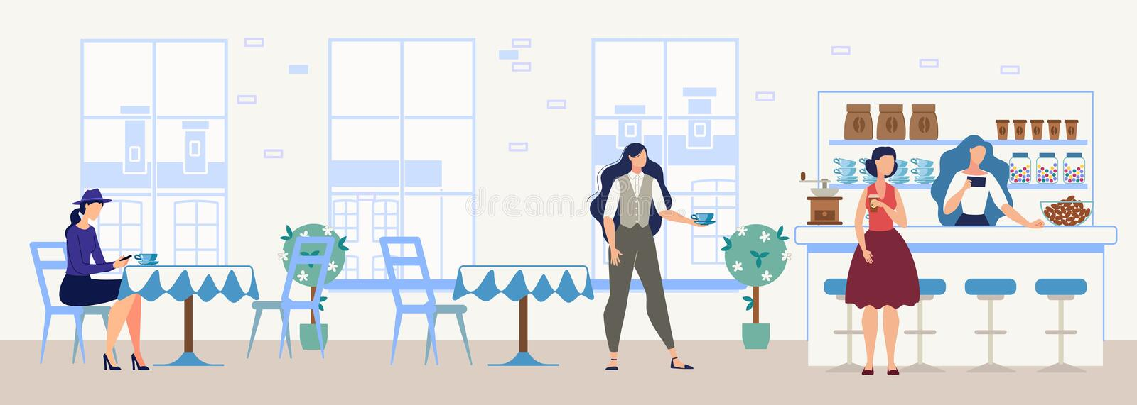 Women Drinking Coffee in Cozy Cafe Flat Vector stock illustration
