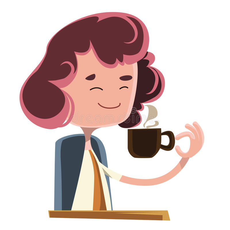 Women Drinking Coffee Illustration Cartoon Character Stock ...