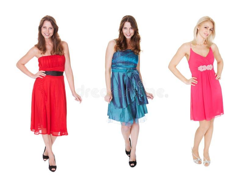 Women in elegant dresses. Isolated on white stock photos