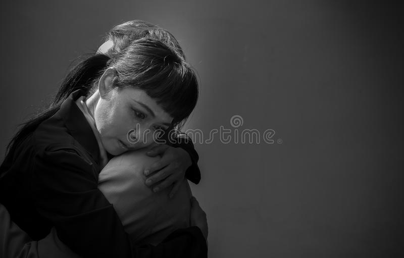 Women are embracing with sad. Emotions royalty free stock photo