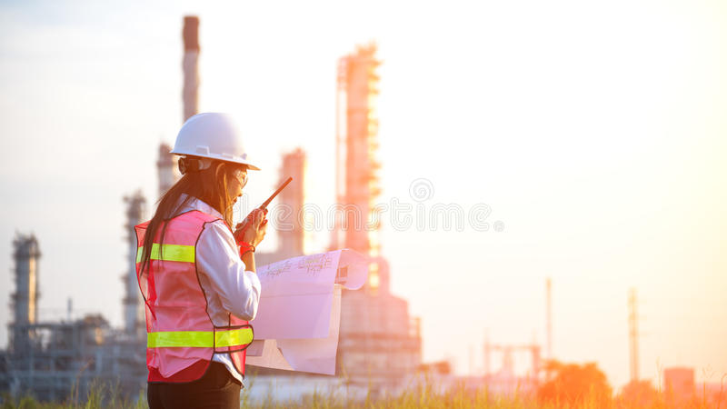 The women engineer at power plant, royalty free stock photography
