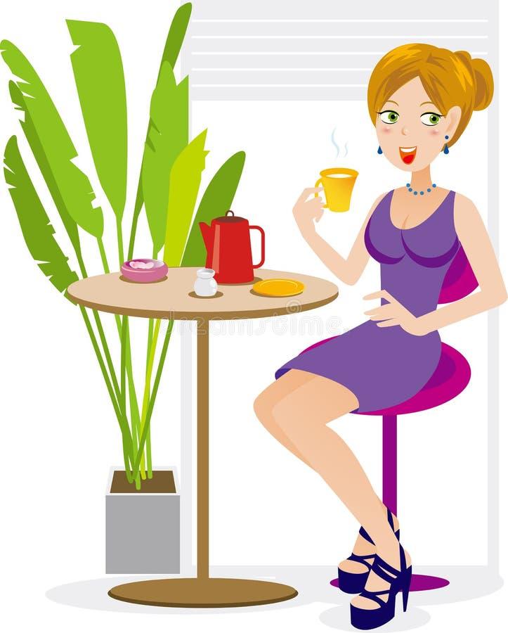 Women enjoy afternoon tea royalty free illustration