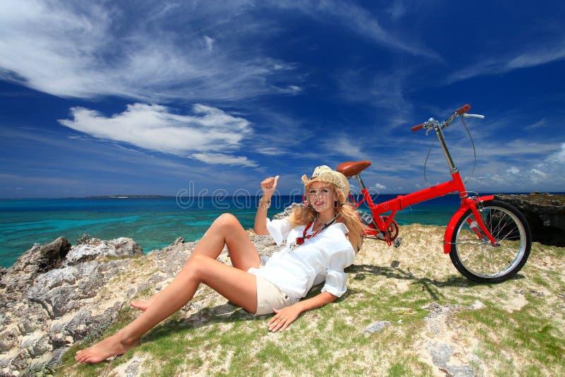 Women enjoy the sun. royalty free stock photo