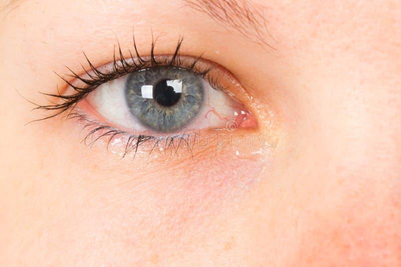 Women eye, close-up, blue, tear royalty free stock photo
