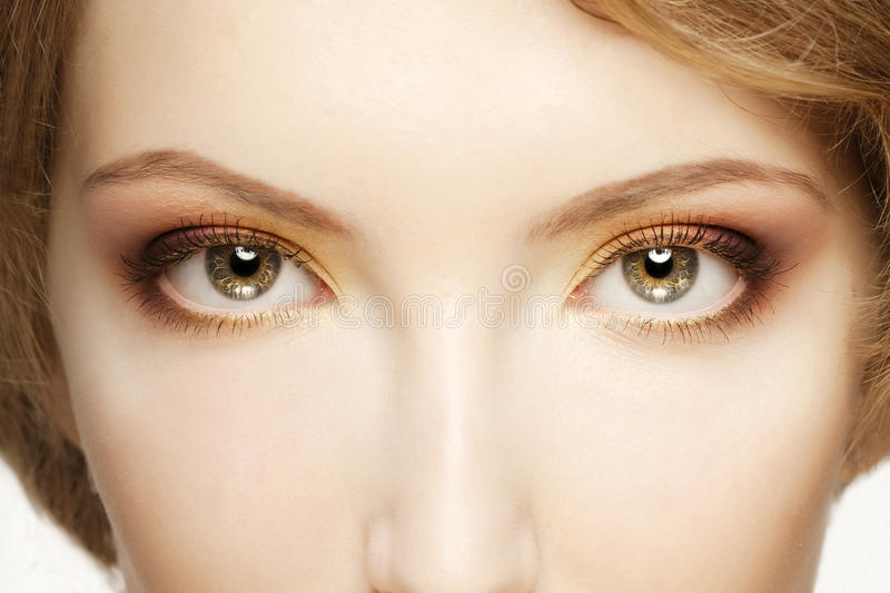 Women eyes close up. Women make up eyes close up royalty free stock images