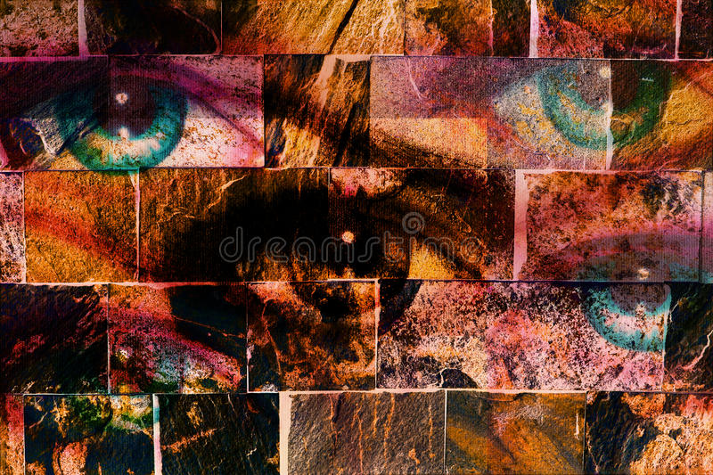 Women eyes, on wall structure background. The brick painting concewomen eyes, on wall structure background. The brick painting con. Women eyes, on wall structure vector illustration