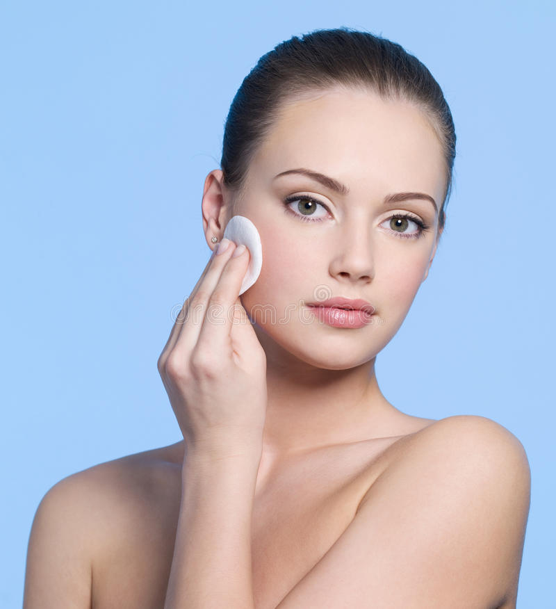 Download Women Face With Cotton Swab Stock Image - Image: 21967789