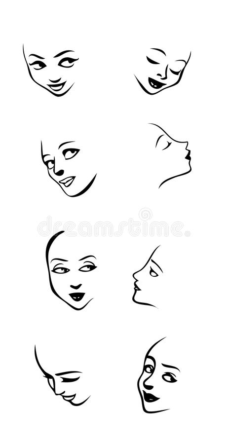Women face expressions royalty free illustration