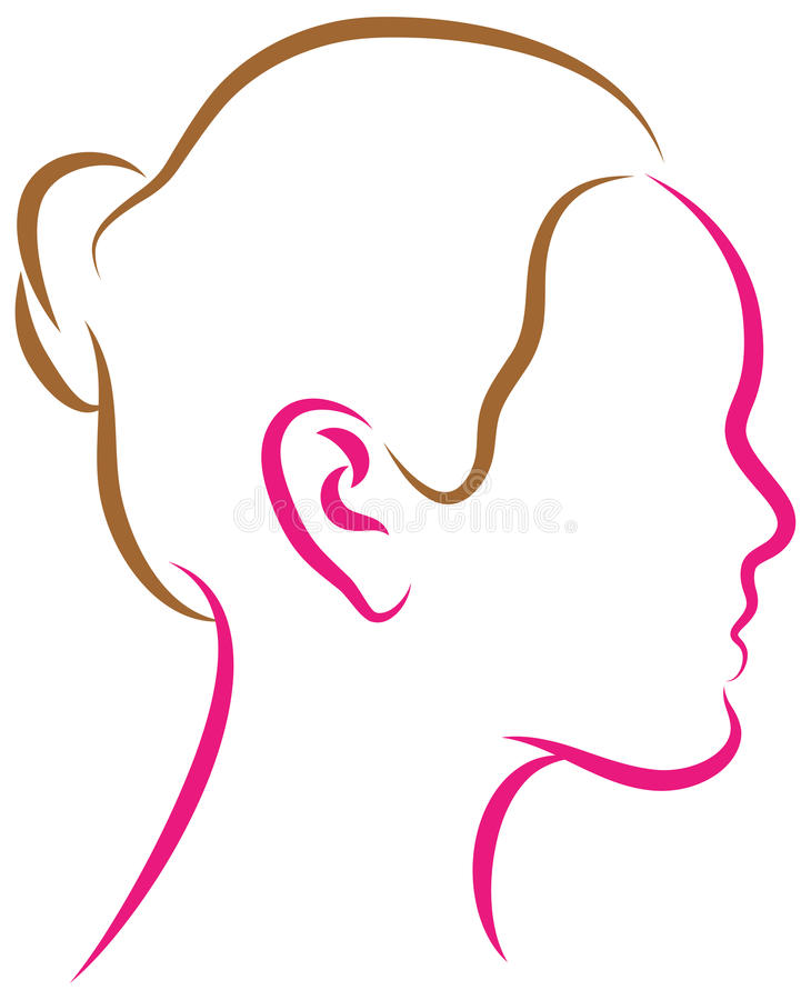 Women face. Illustration of women face - thick and thin simple lines stock illustration
