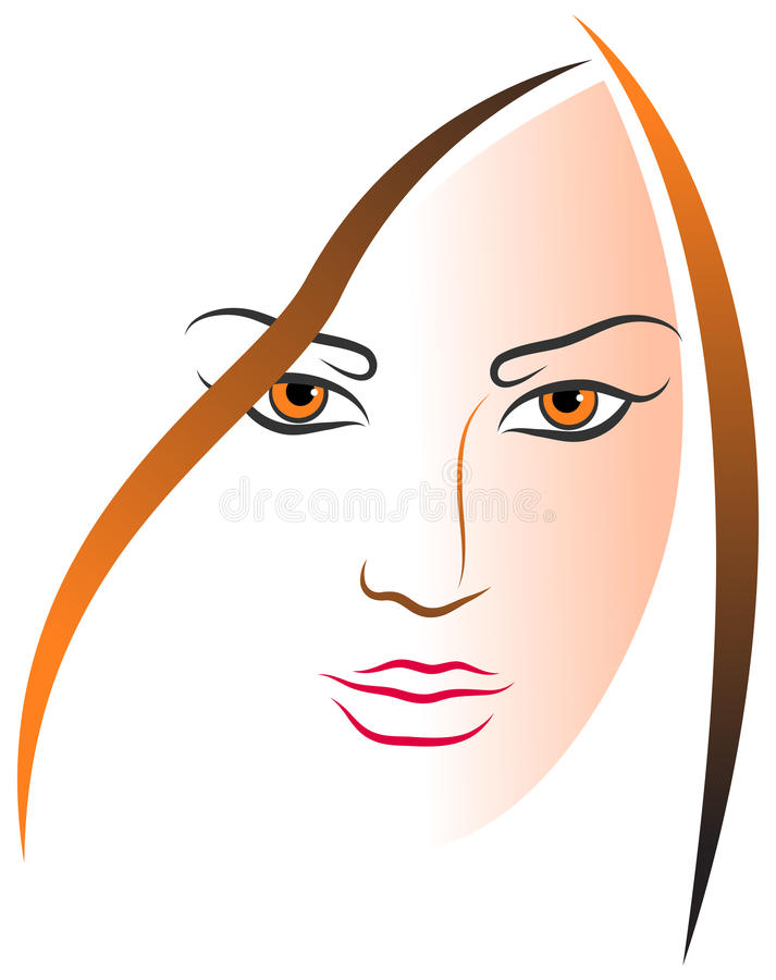 Women face. Illustration of women face - thick and thin simple lines royalty free illustration