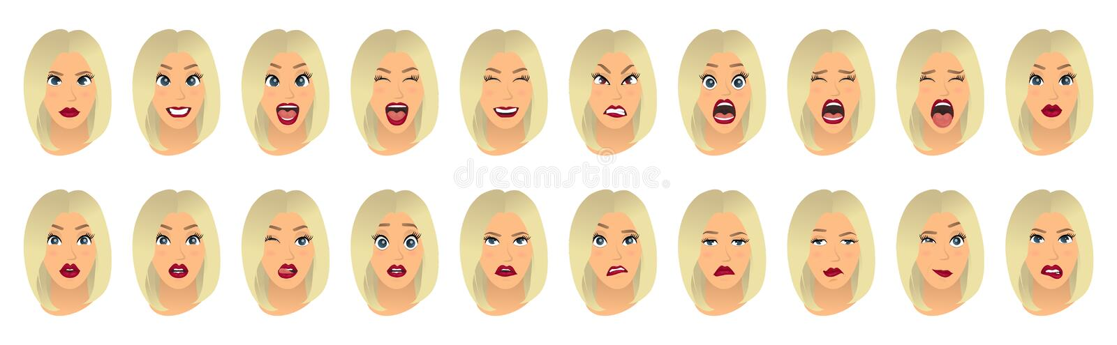 Women facial expressions, gestures, emotions happiness surprise disgust sadness rapture disappointment fear surprise joy. Smile cry despondency. Vector vector illustration