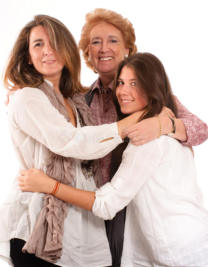 Women family. Portrait of Three generations of women of the same family isolated in white