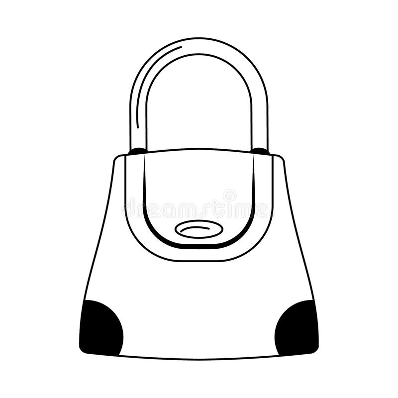 Women fashion bag accesorie cartoon isolated in black and white stock illustration