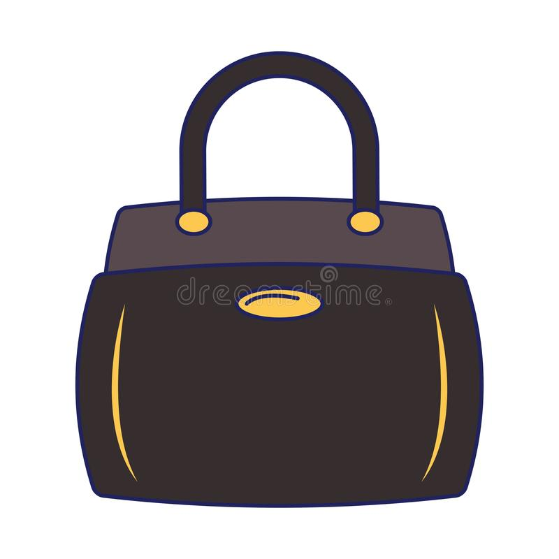 Women fashion bag accesorie cartoon isolated blue lines vector illustration
