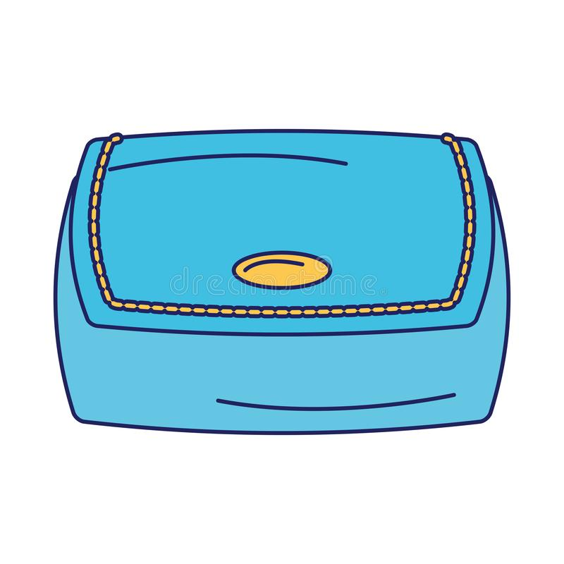 Women fashion bag accesorie cartoon isolated blue lines royalty free illustration