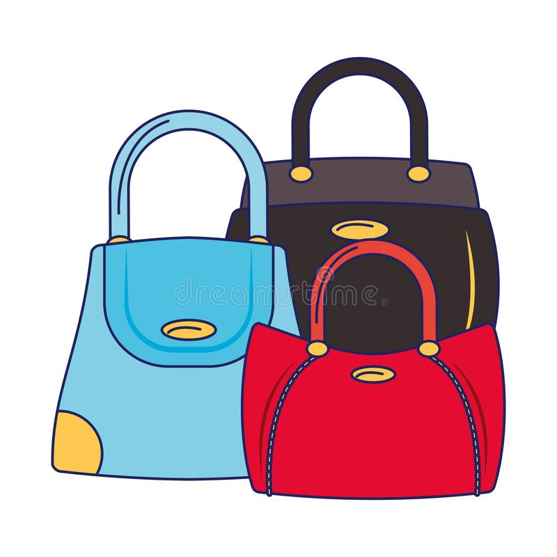 Women fashion bag cartoon isolated blue lines stock illustration