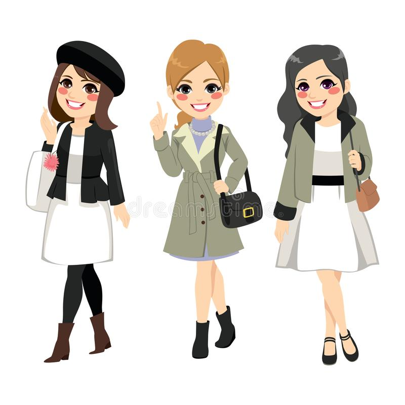 Women Fashion Chic. Beautiful three women friends wearing chic fashion clothes and accessories vector illustration