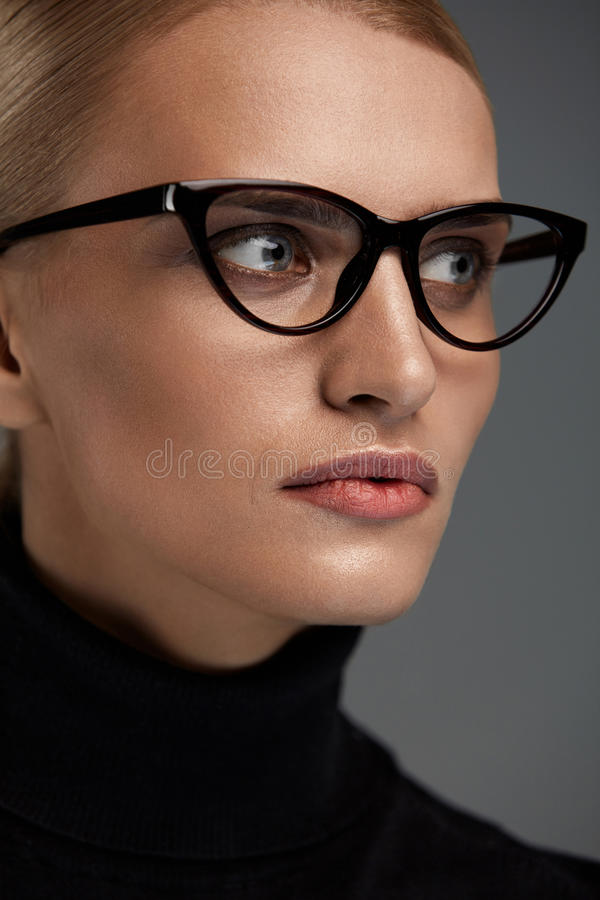Women Fashion Glasses. Girl In Eyewear Frame, Stylish Eyeglasses. Women Fashion Glasses. Attractive Female In Black Cat Eye Design Optical Frame, Eyewear royalty free stock photos