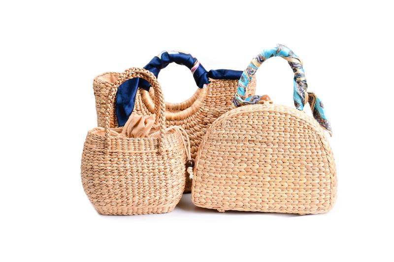 Women fashion handbag with Woven or straw bag handmade bag Thai handicraft weave from natural materials. For caring environment reduce the use of plastic bags stock image