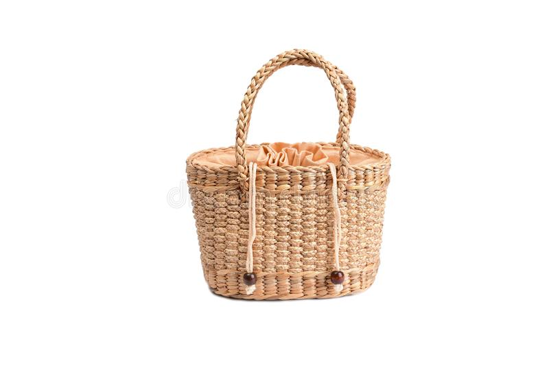 Women fashion handbag with Woven or straw bag handmade bag Thai handicraft weave from natural materials. For caring environment reduce the use of plastic bags royalty free stock images