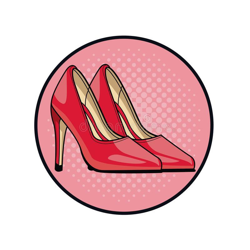 Women fashion high heels pop art cartoon. Vector illustration graphic design royalty free illustration