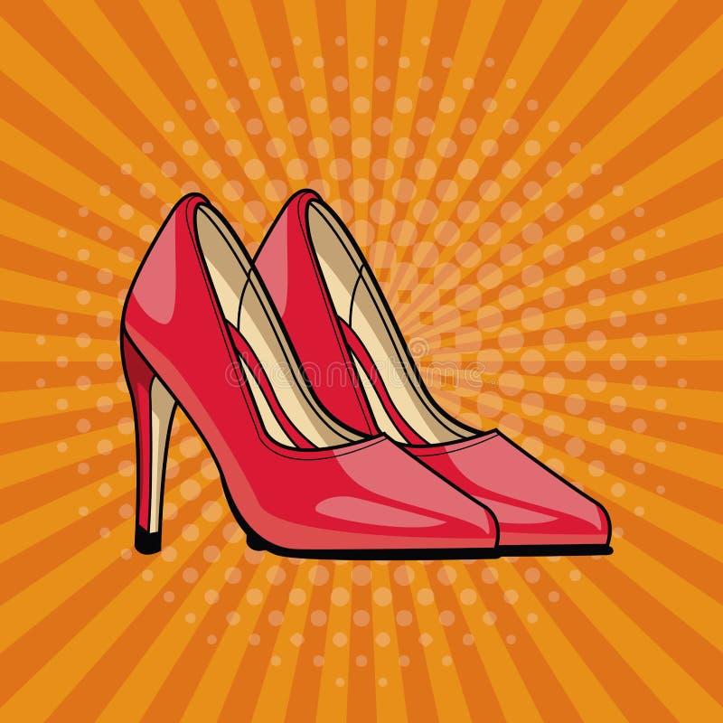 Women fashion high heels pop art cartoon. Vector illustration graphic design vector illustration