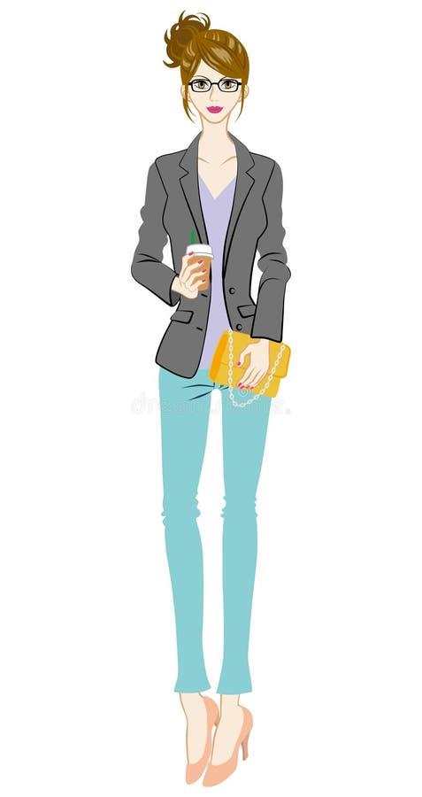 Women fashion, intellectual, Full Length. Vector illustration of Women who wearing intellectual fashion, Full Length royalty free illustration