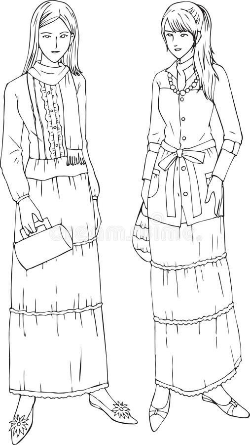 Women Fashion Long Skirt Line Art Vector Illustration. For many purpose such as fashion book illustration, fashion website or blog, adult coloring book, print vector illustration