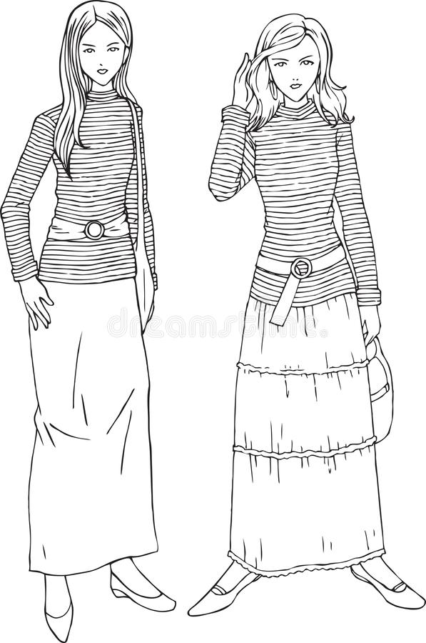 Women Fashion Strips Shirts Line Art Illustration. For many purpose such as fashion trend magazine, book, website or blog, adult coloring book, print on canvas stock illustration
