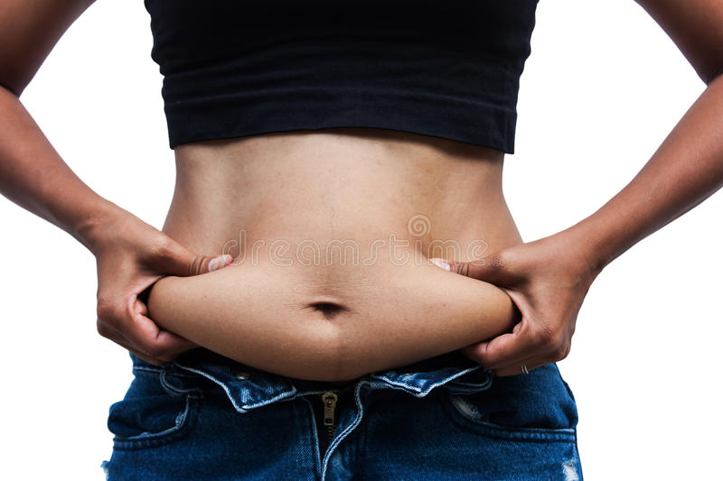 Women with fat belly and stretch marks royalty free stock photo