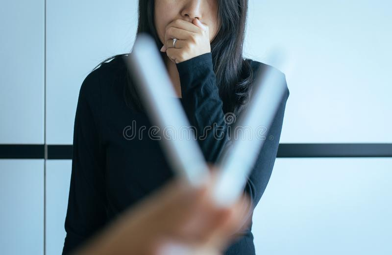 Woman feeling bad smell cigarette,Concept no smoking day world quitting world no tobacco in 31 may day. Women feeling bad smell cigarette,Concept no smoking day royalty free stock photography