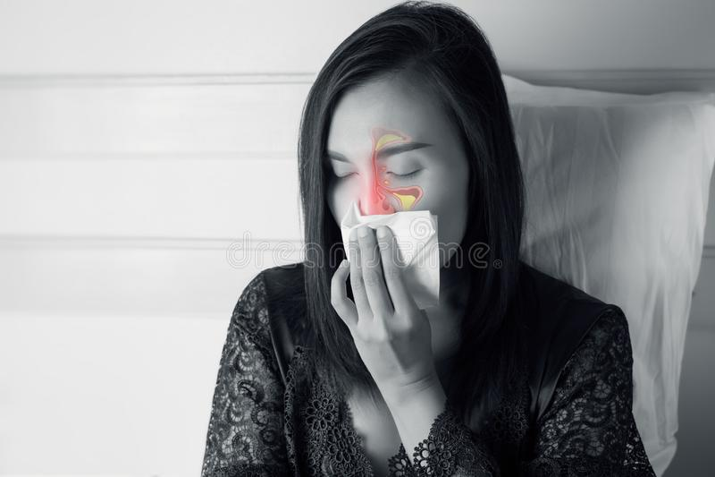 Women Feeling Unwell And Sinus stock photography