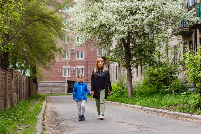 A woman of fifty walks by the hand with her seven-year-old grandson in the city quarter in the spring, blooming Apple trees royalty free stock photo