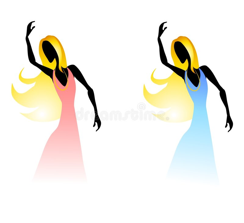 Women Figures Posing Fading. A clip art illustration of your choice of 2 women figures posing as the bottoms of their dresses fades to white. In pink and blue stock illustration