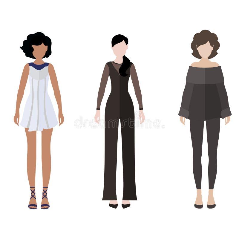 Women flat style icon people figures set stock image