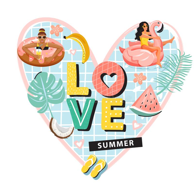 Women floating and sunbathing on inflatable ring. Heart shape composition with tropical fruits, leaves, stock illustration