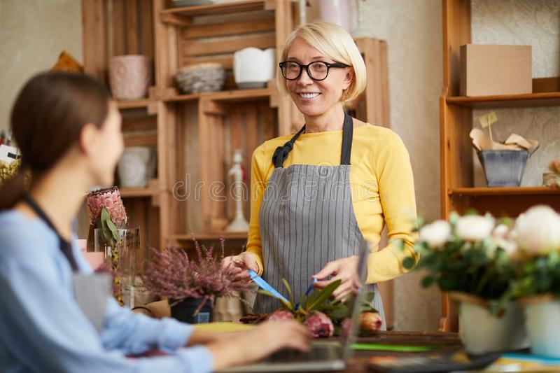 Women in Flower Shop stock photography